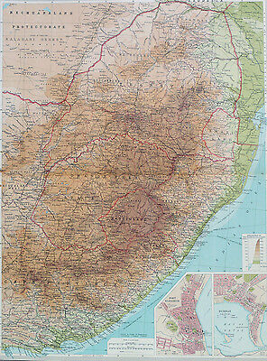 Map of Cape Province  Eastern Africa Cape Town Large 1922 Original Antique