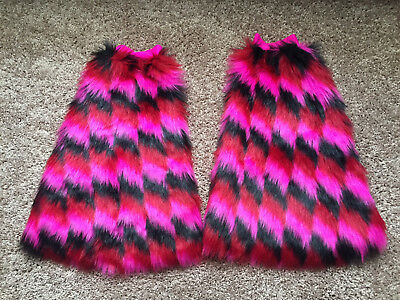 Festival Leg Fluffies in Pink, Red, Black - Leg Wraps for Raves - Leg Warmers