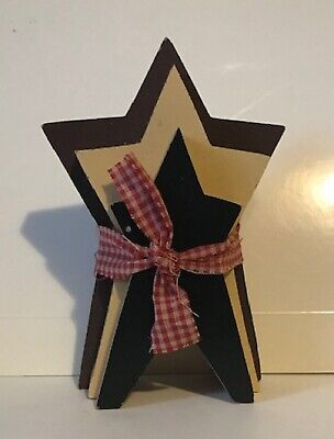 """3 stacked Wood Stars country primitive Americana Patriotic decor sign 6x4"""""""