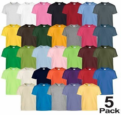 5 Pack Gildan Kids T-Shirt Heavy Cotton Plain Boys Girls Summer Top Crew Neck