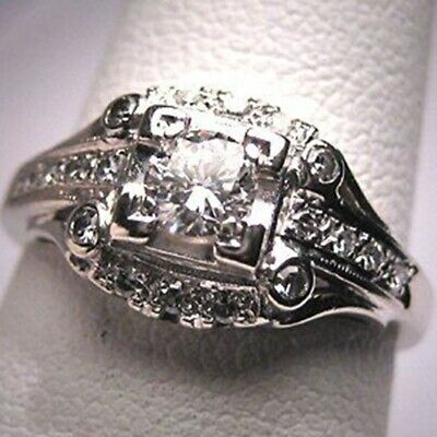 3.6CT Clear Topaz Women Jewelry 925 Silver Ring Wedding Engagement Party Gift
