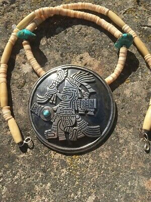 """2 1/2"""" Aztec Mayan Deity (Turquoise Lord) Vintage Taxco Mexican SILVER Pendant"""