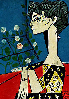 LARGE A3 SIZE QUALITY CANVAS ART PRINT * PABLO PICASSO * Jacqueline with Flowers