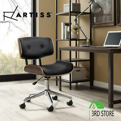 Artiss Office Chair Computer Chairs Executive Wooden Bentwood Leather Seat Black