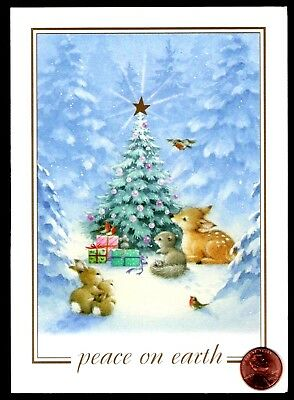 Christmas Fox Deer Bunny Rabbit Squirrel Forest Tree Christmas Greeting Card NEW