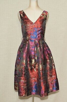 fa46b90152b NWT ModCloth Liza Luxe Jacquard Aura Tit and Flare Dress in Abstract  129  Sz M