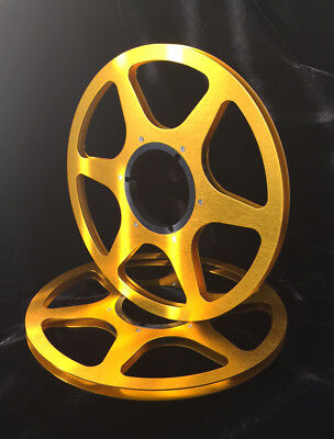 """ONE PAIR   New  10.5"""" Anodized  Aluminum metal Reels  Golden"""