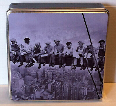 Vintage Skyscraper Construction Scene Collectable Tin