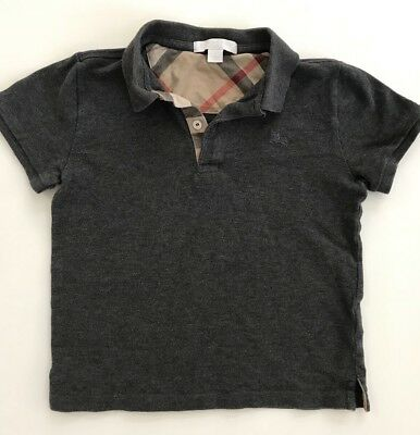 0bbd7cb2 BURBERRY Kids Boys Short Sleeve Polo Shirt Top Size 7 Y Dark Gray Cotton