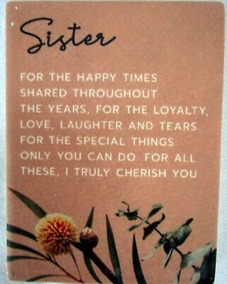 """Ceramic """"Sister"""" Magnet With Beautiful Verse! Lovely Meaningful Gift! Bnib"""