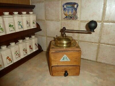 Vintage Brass Wood Iron Coffee Bean Grinder Hand Crank Mill Adjustable French S7