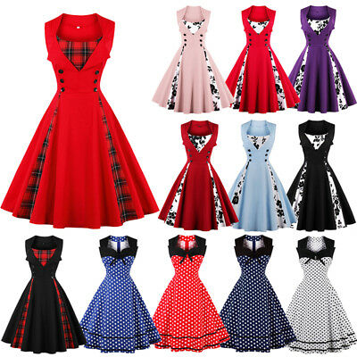 AU Womens Vintage Style 1950s 60s Rockabilly Evening Party Swing Dress Plus Size