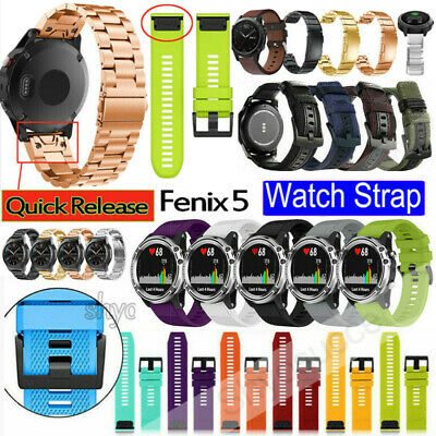 22mm Silicone/Leather Quick Install Band Easy Fit Wrist Strap For Garmin Fenix 5