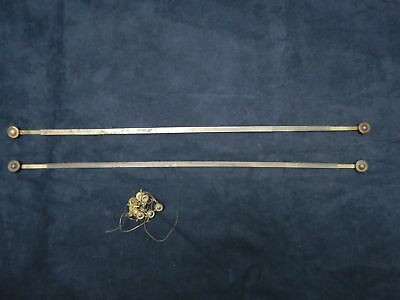 Antique French brass pair of extendable rod curtain