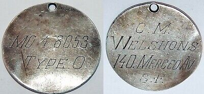 1950s Cold War Civil Defense ID Tag Welshons SF sterling civilian tag blood type