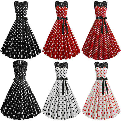 f682a970b21 Womens Vintage Rockabilly 50s 60s Polka Dot Swing Dress Evening Party Prom  Gown