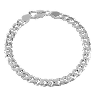 925 Solid Sterling Silver MENS CURB chain BRACELET 6mm Assay Office Hallmarked