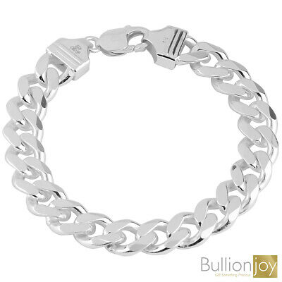 925 Solid Sterling Silver MENS CURB chain BRACELET 10mm/46g Assay Hallmarked