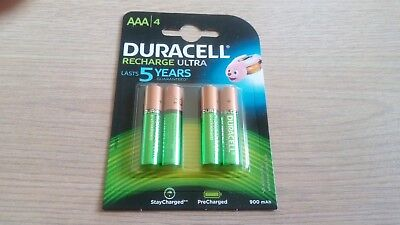 Genuine Duracell Recharge Ultra 900 mAh Rechargable AAA Battery x4 (UK Stock)