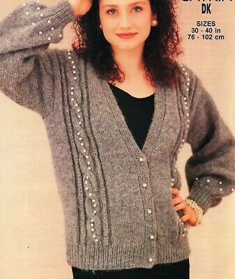 "2506 LADYS BEADED CABLE CARDIGAN SIZES 30-40"" 76-102cm KNITTING PATTERN"