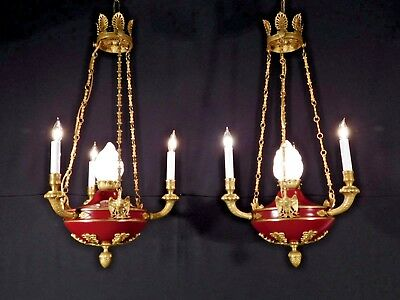 Antique 3 Arm 4 Light French Empire Flame Eagle Chandelier (PAIR AVAILABLE)