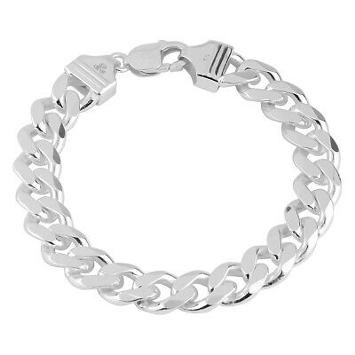 925 Solid Sterling Silver MENS CURB chain BRACELET 14mm/83g Assay Hallmarked