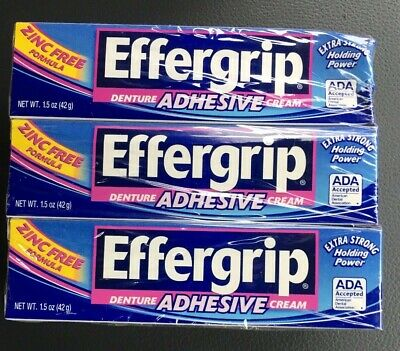 6 Pack Effergrip Denture Adhesive Cream 1.50 oz Each FREE SHIPPING