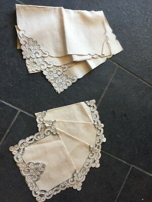 Vintage Unbleached Linen With Cutaway Cutout Work Detailing Napkins And Placemat