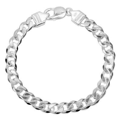 925 Solid Sterling Silver MENS CURB chain BRACELET 7mm/25g Assay Hallmarked