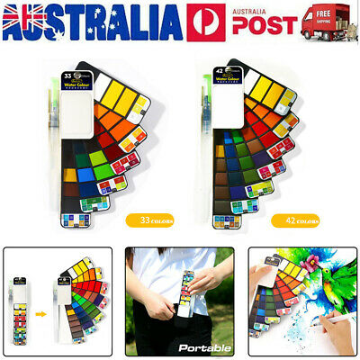 18/25//33/42 Colors Solid Foldable Watercolor Pigments Set With Water Brush Pen