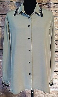d7fad596 Yves St Clair Size 18 Plus Button Front Blouse Polyester Womens Long Sleeve