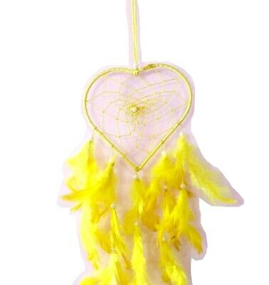 Yellow Handmade Dream Catcher Wall Hanging Decoration with Feathers Gift Long