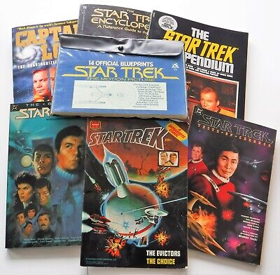 Star Trek 6 books and 14 official blue print great condition