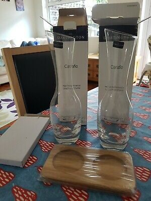 Pair of Boxed Dartington Crystal Wine/water Carafes complete with Hardwood Stand