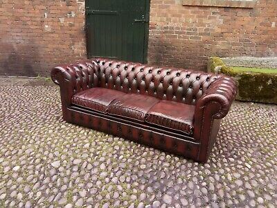Vintage Oxblood Red  Leather  Chesterfield 3 Seater Sofa - Uk Delivery