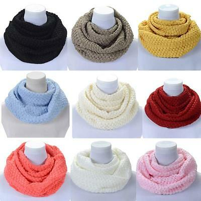 Women Winter Warm Infinity 2 Circle Cable Knit Cowl Neck Long Scarf Shawl Gift W