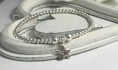 Sterling Silver Beaded Stretch Bracelet Double Stars Charms By Charmed 925