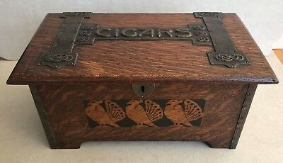 Rare Original Arts and Crafts Oak Cigar Box copper strap work peacocks celtic