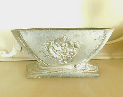 French Art Deco Cast Jardiniere or Planter with Silver Finish C1920