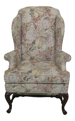 30760EC: BAKER Queen Anne Tapestry Fabric Wing Back Chair