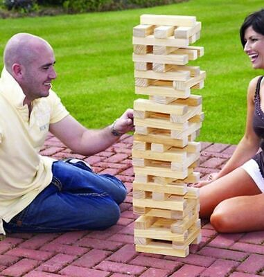 60Pc Giant Wooden Tumbling Jenga Tower Blocks Garden Game Outdoor Family Fun New