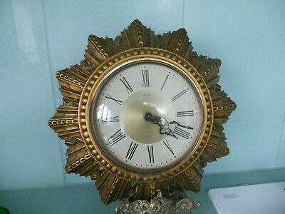 Vintage Smiths Floating Balance 8 Day Sunburst Wall Clock