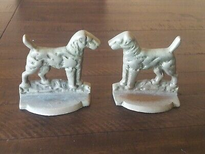 Vintage Bookends Dog  Terrier,Airedale,Fox,Welsh. Nickel? Heavy