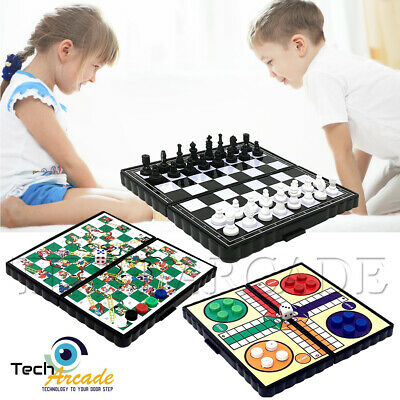 Board Games Mini Magnetic Travel Chess Ludo Snakes and Ladders Portable Plastic