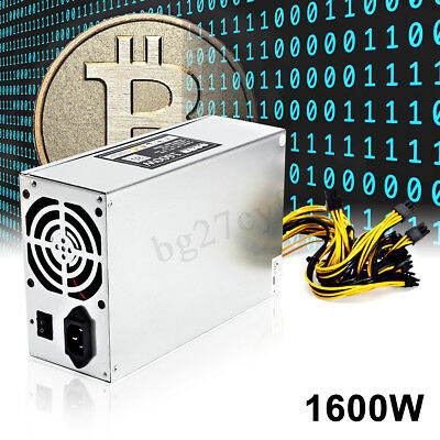 1600W ETH Mining Machine Power Supply For 6 GPU Bitcoin Miner Antminer S7 S9 A6