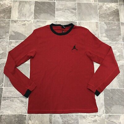 c387ddbe317 Men's Air Jordan Jumpman Logo Long Sleeve Thermal Waffle Shirt Sz XL Red  Black