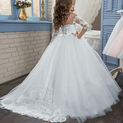 Lace Wedding Flower Girls Dress Holy Communion Prom Party Dress Princess Pageant