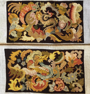 19th c. Unused French Needlepoint Panels, Chimere or Dragons for Pillows