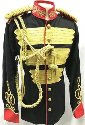 """Steampunk Black/Red Contrast With Brass Buttons MilitaryJacket In 42""""44""""46"""""""
