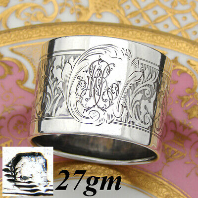 "Antique French Sterling Silver Napkin Ring, Neo-Renaissance Decoration, ""MR"""
